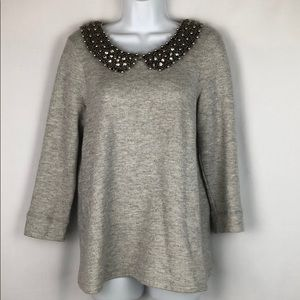 Anthropology 9 H15 Stcl blouse Size L 3/4 sleeve